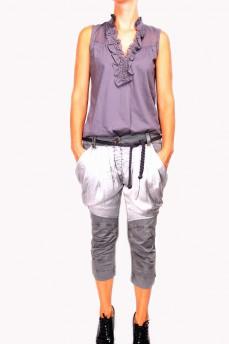 Укороченные брюки с атласными карманами