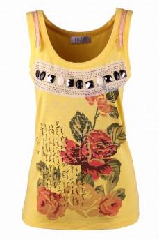 Топ ярко-желтый с принтом цветы