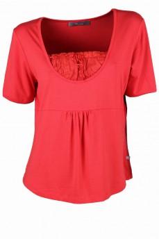 Блуза с кокеткой цвета морковный