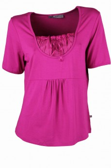Блуза с кокеткой цвета фуксия