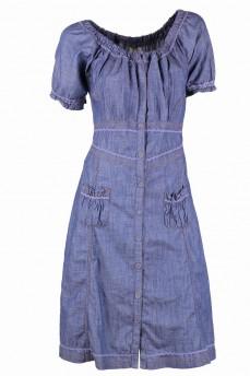 Платье джинсовое в романтическом стиле крестьянка