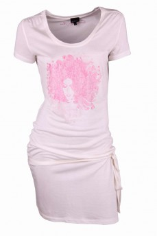 Платье-туника с поясом и принтом лицо девушки