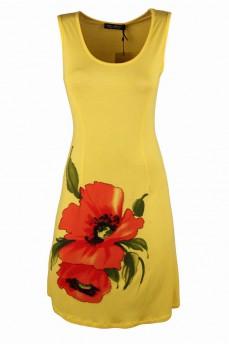 Платье желтое с рисунком маком
