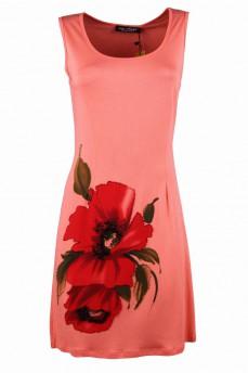 Платье коралловое с принтом мак