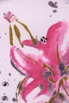 Майка белая с принтом розовой лилии