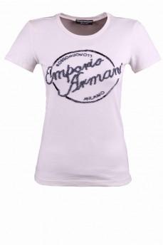 Кремовая футболка с эмблемой из биссера