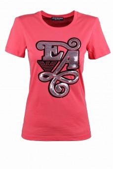 Коралловая футболка с серебряными паетками