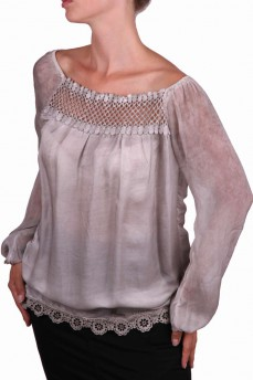 Туника-блуза шелковая с макраме дымчатая