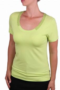 Блуза цвета зеленого яблока с круглым вырезом