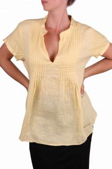 Блуза- туника желтого цвета из льна