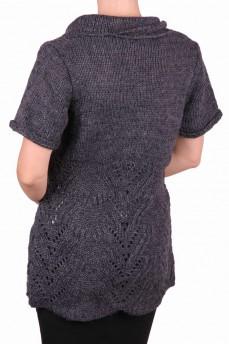Кардиган темно - серый ажурной вязки