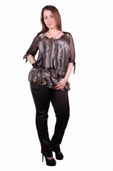 Блуза-туника шифоновая с атласным переплетением на спине