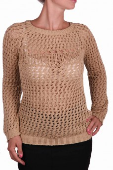 Пуловер ажурной вязки песочный