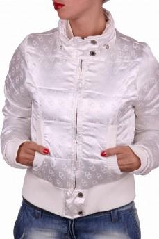 Бомбер куртка белая с трикотажным манжетом и съемным капюшоном