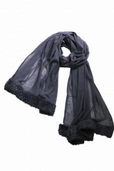 Широкий шарф сетка черный