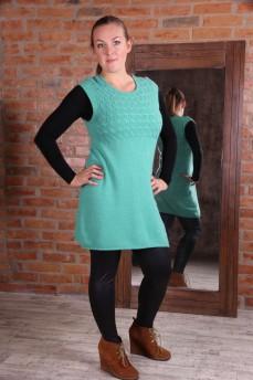 Платье бирюзовое из шерсти без рукава