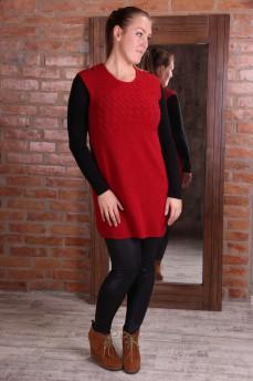 Платье-туника красное из шерсти с вязкой косички