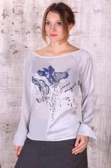 Блуза атласная с принтом птица и вышивкой