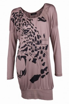 Платье-блузон с принтом леопард