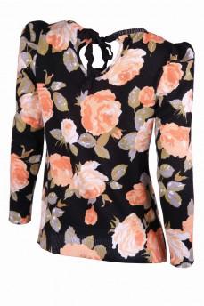 Тонкий пуловер с персиковыми розами