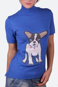 Синий гольф с воротником стойка и рисунком собака