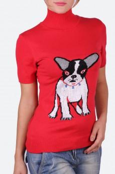 Вязаная алая водолазка с рисунком собаки