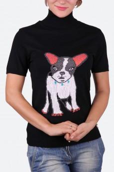 Водолазка черная с принтом собака