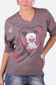 Пуловер летучая мышь цвета капучино