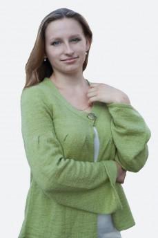 Кардиган вязанный салатовый мохеровый расклешенный
