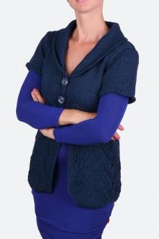Кардиган длинный вязанный синего цвета