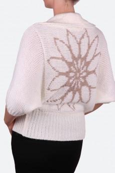 Кардиган вязанный с орнаментом цветок
