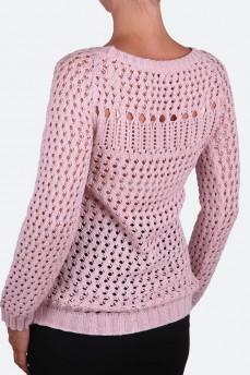 Пуловер ажурной вязки бледно-розовый