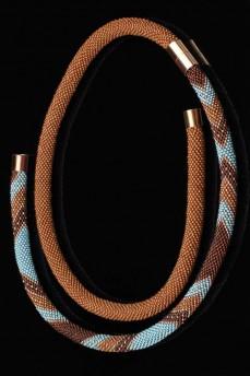 Длинное колье бирюза с дымчатым кварцем