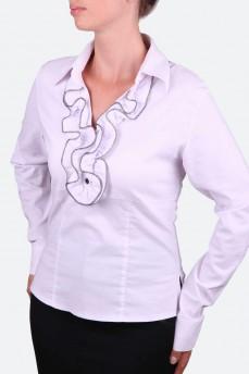 Рубашка приталенная с воротником жабо