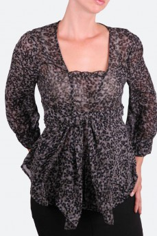 Блуза шифоновая цвета спаржи с оригинальным поясом