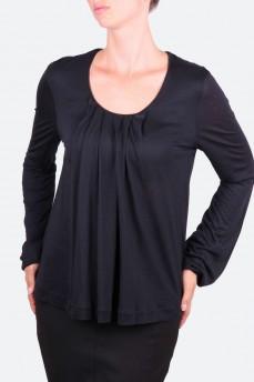 Блуза черная с встречной складкой
