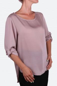 Блуза шелковая свободного кроя цвета кофе с молоком
