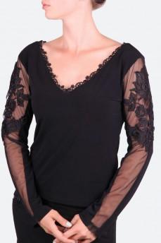 Блуза с V-образным вырезом и кружевом по рукаву