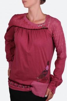 Блуза цвет марсала с набивным гипюром и жаккардом