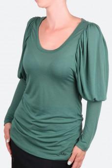 Блуза зеленая зауженная от локтя