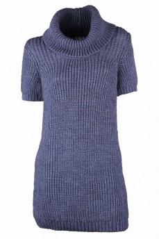 Мохеровой удлиненный свитер с объемным воротником
