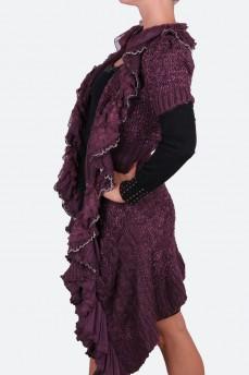 Кардиган вязанный длинный из шерсти с ассиметричным подолом