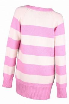 Теплый пуловер-туника коралловый из шерсти с глубоким вырезом