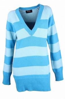 Пуловер -туника голубой в полоску с глубоким вырезом
