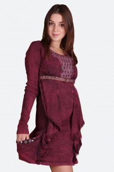 Платье расшитое бисером цвета марсала