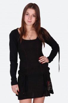 Платье из тонкой шерсти с вышивкой ветка розы