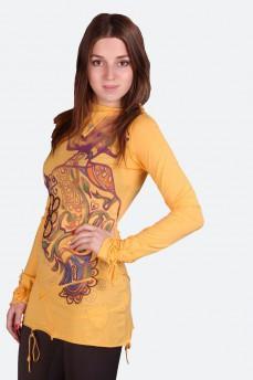 Туника желтая с принтом девушка и вышывкой бисером