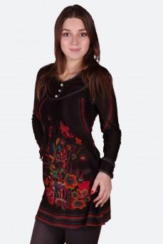 Короткое платье с защипами и рисунком цветы