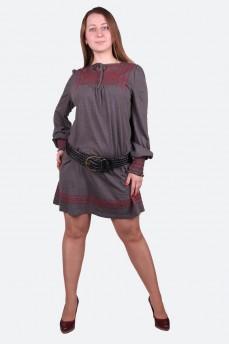 Платье серое в стиле этно