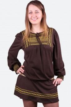 Платье шоколадного цвета в стиле этно
